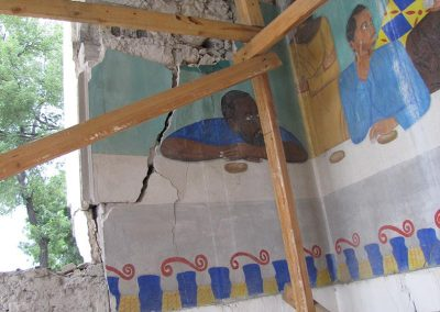 earthquake damage and building collapse —Salvage of Historic Mural Damaged in an Earthquake