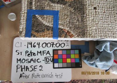 Mosaic & Mural Conservation — Ancient Antioch Mosaic Panels Varnish-test