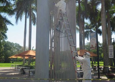 Public Art Conservation — Outdoor Aluminum Sculpture Linda Howard Kuan During Treatment 01