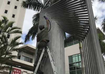 Public Art Conservation — Outdoor Aluminum Sculpture Linda Howard Kuan During Treatment 03